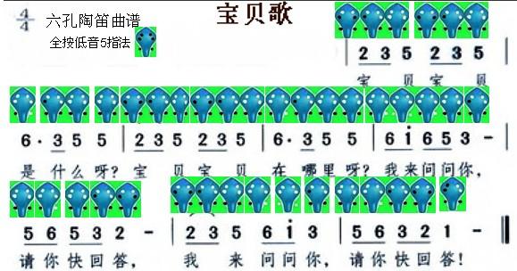 宝贝歌-六孔陶笛曲谱-陶笛网
