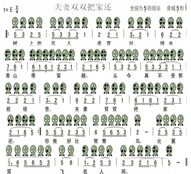 双把家还-六孔陶笛曲谱-陶笛曲谱网(646x733,222k)-夫妻双双把家