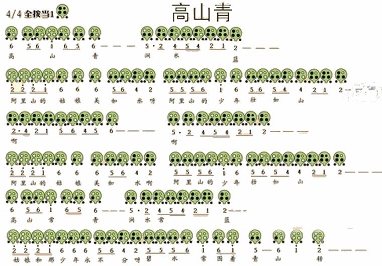 六孔陶笛曲谱高山青