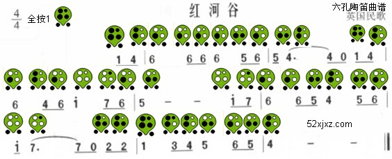 红河谷六孔陶笛曲谱(英国民歌)-红河谷