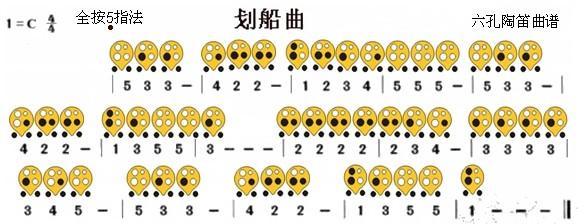 六孔陶笛曲谱划船曲