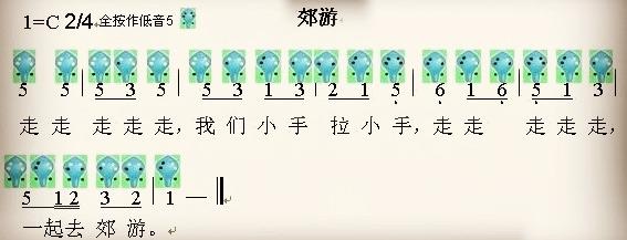 郊游-六孔陶笛曲谱-陶笛曲谱网