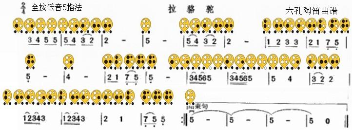六孔陶笛曲谱拉骆驼