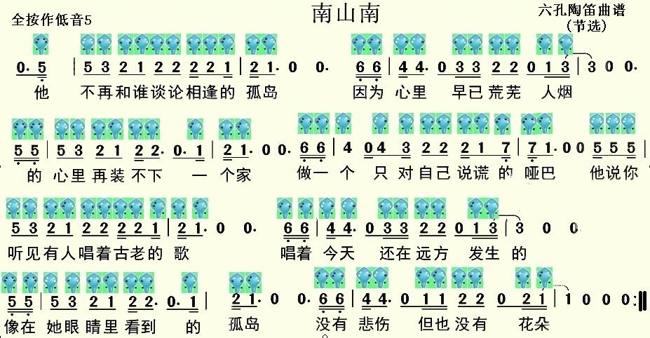 南山南六孔陶笛曲谱-南山南