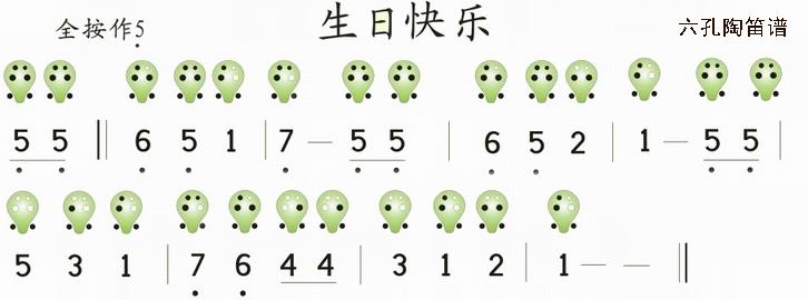 生日快乐 六孔陶笛曲谱 陶笛网