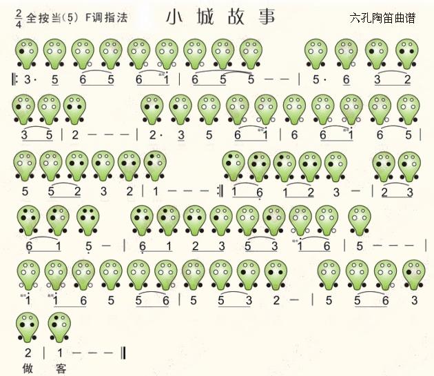 六孔陶笛曲谱小城故事
