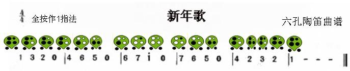 六孔陶笛曲谱新年歌
