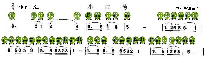 六孔陶笛曲谱小白杨
