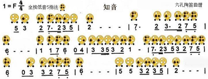 六孔陶笛曲谱知音
